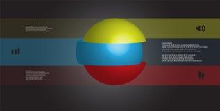 calibre infographic de l'illustration 3D avec la boule découpée à trois parts et empilée en tranches avec les éléments décalés Illustration Stock