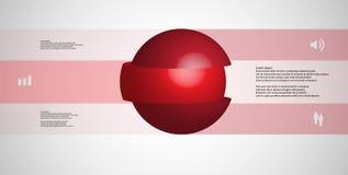 calibre infographic de l'illustration 3D avec la boule découpée à trois parts et empilée en tranches avec les éléments décalés Illustration Libre de Droits