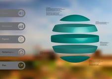 calibre infographic de l'illustration 3D avec la boule horizontalement divisée à cinq parts bleues autonomes Images stock