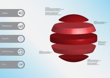 calibre infographic de l'illustration 3D avec la boule horizontalement divisée à cinq parts rouges autonomes Images libres de droits