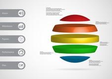 calibre infographic de l'illustration 3D avec la boule horizontalement divisée à cinq pièces autonomes de couleur Photographie stock libre de droits