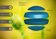 calibre infographic de l'illustration 3D avec la boule horizontalement divisée à quatre parts bleues autonomes Photos libres de droits