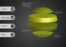 calibre infographic de l'illustration 3D avec la boule horizontalement divisée à quatre parts vertes autonomes Photographie stock libre de droits
