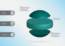 calibre infographic de l'illustration 3D avec la boule horizontalement divisée à trois parts vertes autonomes Photographie stock libre de droits