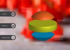 calibre infographic de l'illustration 3D avec la boule horizontalement divisée à trois pièces autonomes de couleur Images stock