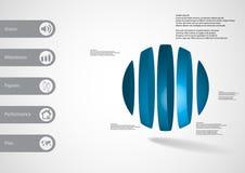 calibre infographic de l'illustration 3D avec la boule verticalement divisée à cinq parts Illustration Stock