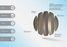 calibre infographic de l'illustration 3D avec la boule verticalement divisée à cinq parts Illustration de Vecteur