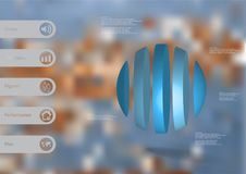 calibre infographic de l'illustration 3D avec la boule verticalement divisée à cinq parts Illustration Libre de Droits