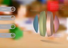 calibre infographic de l'illustration 3D avec la boule verticalement divisée à quatre parts Illustration Stock