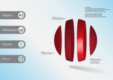 calibre infographic de l'illustration 3D avec la boule verticalement divisée à quatre parts Illustration de Vecteur