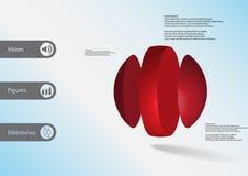 calibre infographic de l'illustration 3D avec la boule verticalement divisée à trois parts Illustration Stock