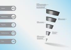calibre infographic de l'illustration 3D avec la triangle en pente horizontalement divisée à cinq tranches grises Image libre de droits