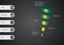 calibre infographic de l'illustration 3D avec la triangle en pente horizontalement divisée à cinq tranches vertes Photos stock