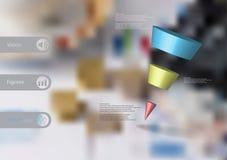 calibre infographic de l'illustration 3D avec la triangle en pente horizontalement divisée à trois tranches de couleur Images stock