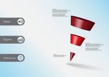 calibre infographic de l'illustration 3D avec la triangle en pente horizontalement divisée à trois tranches rouges Photo stock