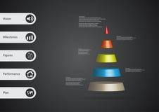 calibre infographic de l'illustration 3D avec la triangle horizontalement divisée à cinq tranches de couleur Images stock