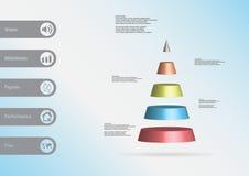 calibre infographic de l'illustration 3D avec la triangle horizontalement divisée à cinq tranches de couleur Image libre de droits