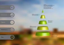 calibre infographic de l'illustration 3D avec la triangle horizontalement divisée à cinq tranches vertes Photographie stock
