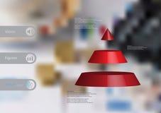 calibre infographic de l'illustration 3D avec la triangle horizontalement divisée à trois tranches rouges Photographie stock libre de droits