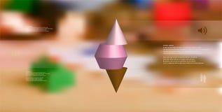calibre infographic de l'illustration 3D avec le cône pointu horizontalement découpé en tranches à trois parts Image libre de droits