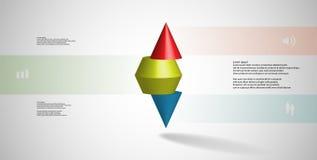 calibre infographic de l'illustration 3D avec le cône pointu horizontalement découpé en tranches à trois parts Images libres de droits