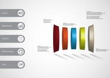 calibre infographic de l'illustration 3D avec le cylindre déformé verticalement divisé à cinq parts illustration libre de droits