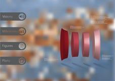 calibre infographic de l'illustration 3D avec le cylindre déformé verticalement divisé à quatre parts illustration de vecteur