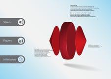 calibre infographic de l'illustration 3D avec le cylindre entre les cônes horizontalement disposés Photographie stock