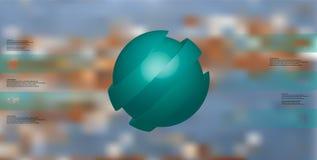 calibre infographic de l'illustration 3D avec le motif de la boule découpée en tranches oblique à cinq parts bleues qui sont déca Illustration de Vecteur