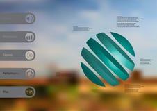 calibre infographic de l'illustration 3D avec oblique de boule divisé à cinq tranches bleues Image libre de droits