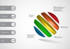 calibre infographic de l'illustration 3D avec oblique de boule divisé à cinq tranches de couleur Images stock