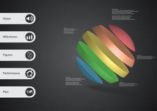 calibre infographic de l'illustration 3D avec oblique de boule divisé à cinq tranches de couleur Image libre de droits