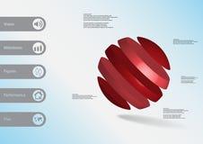 calibre infographic de l'illustration 3D avec oblique de boule divisé à cinq tranches rouges Photographie stock