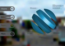 calibre infographic de l'illustration 3D avec oblique de boule divisé à quatre tranches bleues Image libre de droits