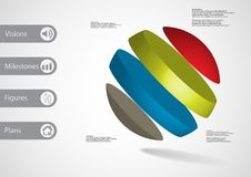 calibre infographic de l'illustration 3D avec oblique de boule divisé à quatre tranches de couleur Illustration Libre de Droits