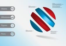 calibre infographic de l'illustration 3D avec oblique de boule divisé à quatre tranches de couleur Illustration Stock