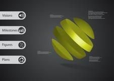 calibre infographic de l'illustration 3D avec oblique de boule divisé à quatre tranches vertes Images stock