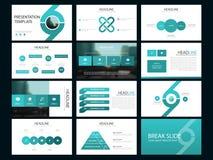 Calibre infographic de présentation d'éléments de paquet bleu rapport annuel d'affaires, brochure, tract, insecte de publicité, Image stock