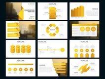 Calibre infographic de présentation d'éléments de paquet jaune rapport annuel d'affaires, brochure, tract, insecte de publicité, Image libre de droits