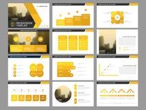 Calibre infographic de présentation d'éléments de paquet jaune de triangle rapport annuel d'affaires, brochure, tract, insecte de illustration de vecteur
