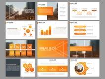 Calibre infographic de présentation d'éléments de paquet orange rapport annuel d'affaires, brochure, tract, insecte de publicité, illustration stock