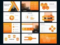 Calibre infographic de présentation d'éléments de paquet orange rapport annuel d'affaires, brochure, tract, insecte de publicité, illustration de vecteur