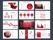 Calibre infographic de présentation d'éléments de paquet rouge rapport annuel d'affaires, brochure, tract, insecte de publicité, illustration libre de droits