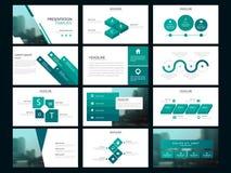 Calibre infographic de présentation d'éléments de paquet vert rapport annuel d'affaires, brochure, tract, insecte de publicité, illustration stock
