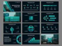 Calibre infographic de présentation d'éléments de paquet vert rapport annuel d'affaires, brochure, tract, insecte de publicité, illustration libre de droits