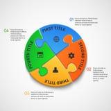 Calibre infographic de vecteur d'affaires avec des options de puzzle illustration stock