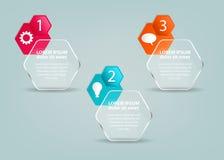 Calibre infographic en verre avec des étapes et des icônes Photos libres de droits
