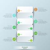 Calibre infographic moderne de conception, 3 cartes de papier doubles faces avec des lettres et 6 zones de texte Images libres de droits