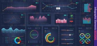 Calibre infographic moderne moderne de vecteur avec des graphiques de statistiques et des diagrammes de finances Calibre de diagr Illustration Stock