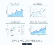 Calibre infographic utile diagrammes, secteur empilé et graphe linéaire, scatterplot illustration de vecteur